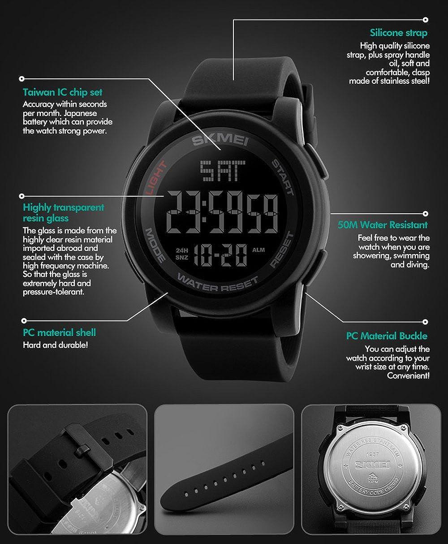 3f568f7c7064 Amazon.com  Men s LED Digital Chrono Countdown Luxury Military Watches  Green  Watches