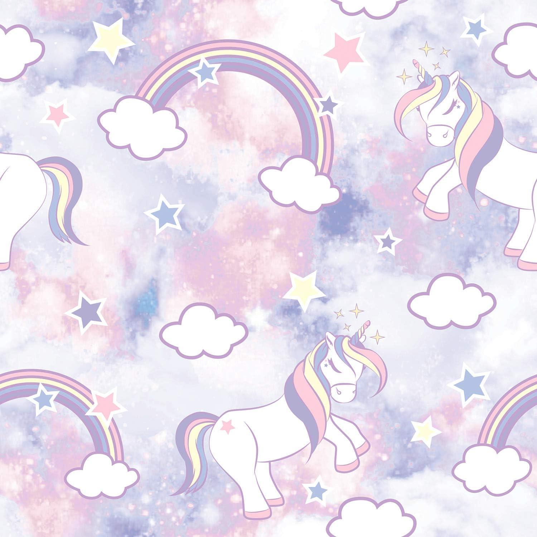 Amazon Com Woohooroo Unicorn Pattern Peel And Stick Self Adhesive Wallpaper Purple Home Kitchen