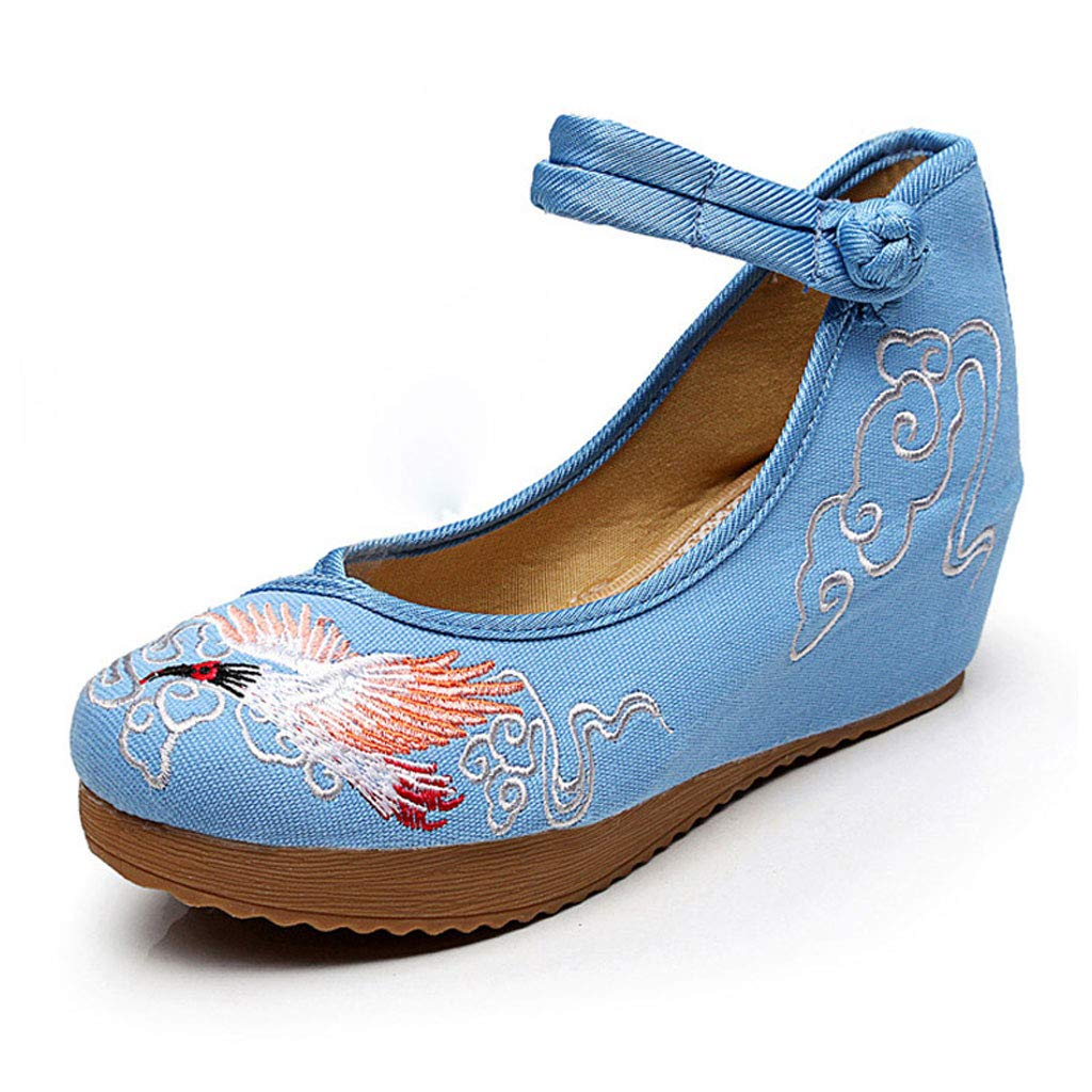 XHX Chaussures Nationales Brodées par Vent, 34) Dames 5cm Talons Occasionnelles Hauts Hauts Chaussures Occasionnelles De Mode Chaussures De Ballet Élégantes Bleues (Couleur : Bleu, Taille : 34) Bleu 0e2f62e - tbfe.space