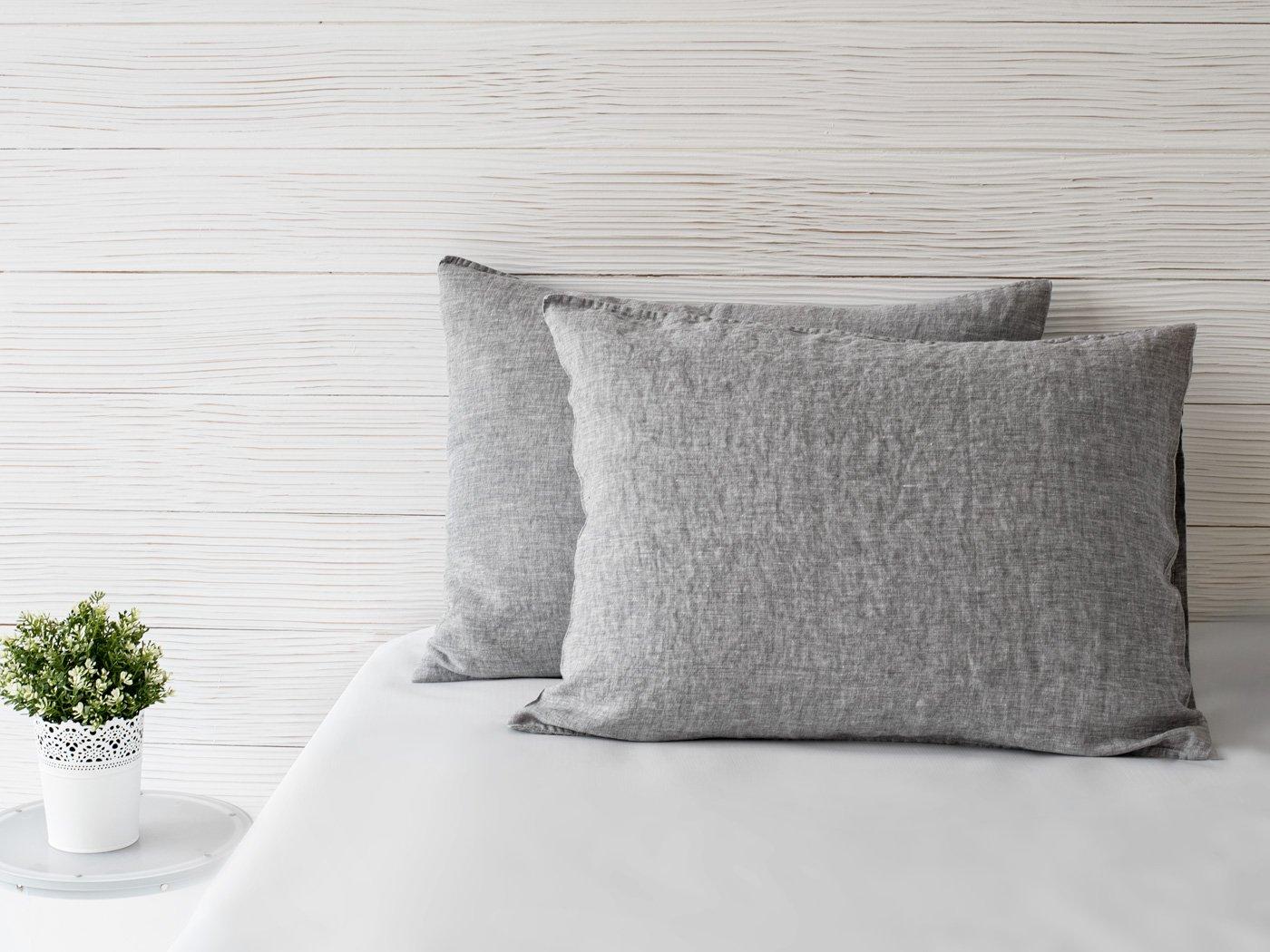 BEALINEN Linen Pillowcases Shams 2 pcs Inside Pocket Closure Size Standard 20x26 Ashen Gray Color Washed Softened European Linen