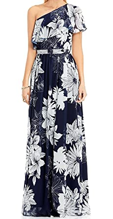 Vince Camuto Womens Tropical Floral One Shoulder Maxi Dress Blue 2 ... ef9dbe353a