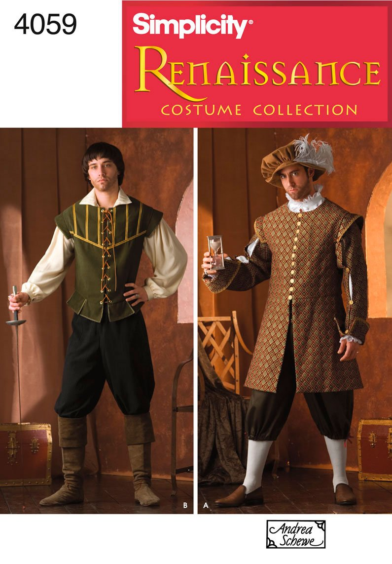 Simplicity Sewing Pattern 4059 Men Costumes, A (XS-S-M-L-XL) Andrea Schewe Simplicity Creative Patterns U04059A