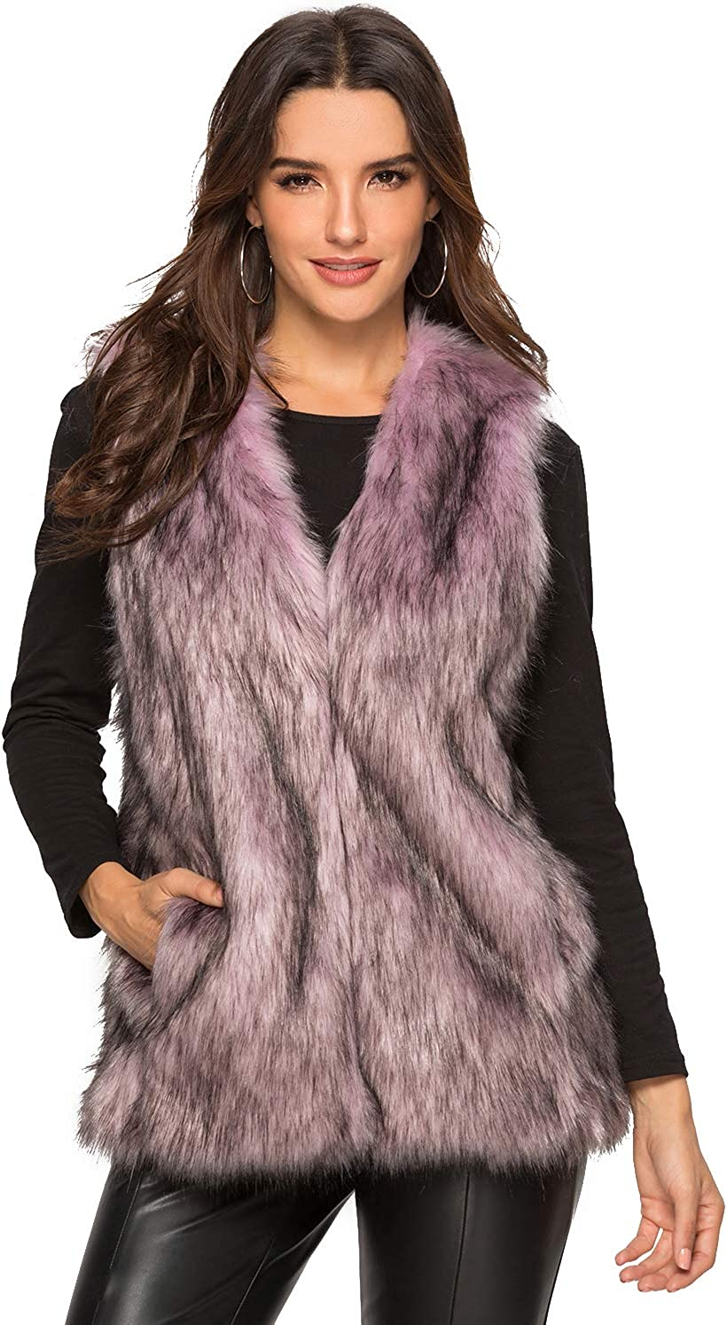 Escalier Women's Faux Fur Vest Waistcoat Sleeveless Jacket at  Women's Coats Shop