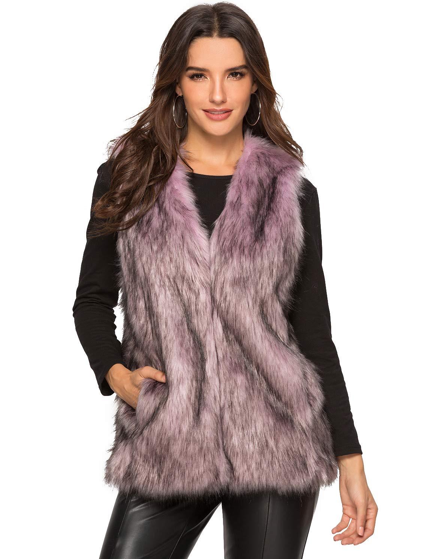Escalier Women's Faux Fur Vest Waistcoat Sleeveless Jacket Purple US 14 by Escalier
