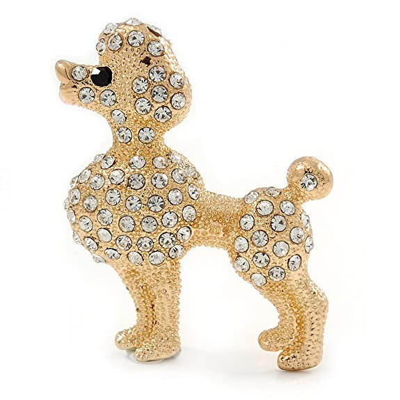 1950s Jewelry Styles and History Gold Plated Clear Crystal Poodle Dog Brooch - 40mm Width $17.40 AT vintagedancer.com