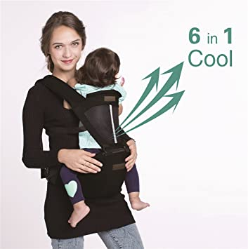 ef44eda7b58 Amazon.com: Vedar Newborn Black Baby Carrier 6-in-1 Soft Baby Carrier  Backpack Kangaroo and Front Baby Sling Carrier for Women and Men: Watches
