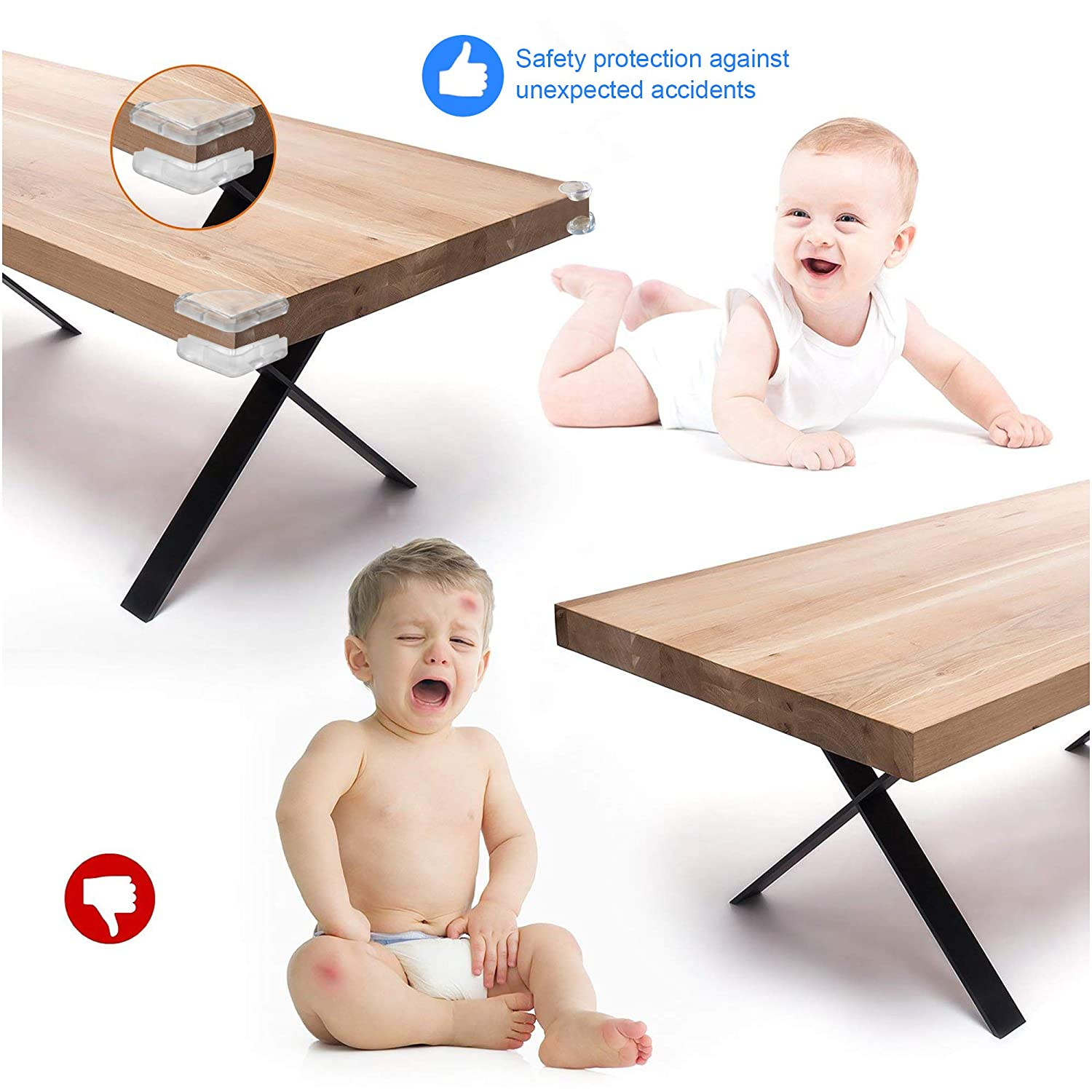 Skeeper Safety Corner Guards 20pcs Table Corner Protector for Child and Baby with 20pcs Strong Adhesive for Backup Use 10 Round+10 Right Angle