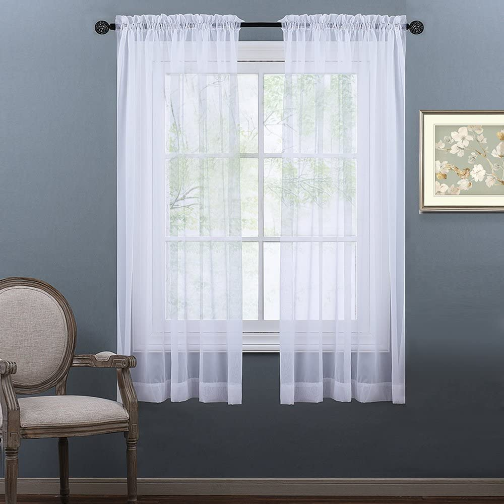 """NICETOWN White Sheer Curtains 63 inch Length for Bedroom, Rod Pocket Translucent Voile Sheer Airy & Breathable Curtain Panels for Flat/Apartment, 2 Pieces, 60"""" W"""