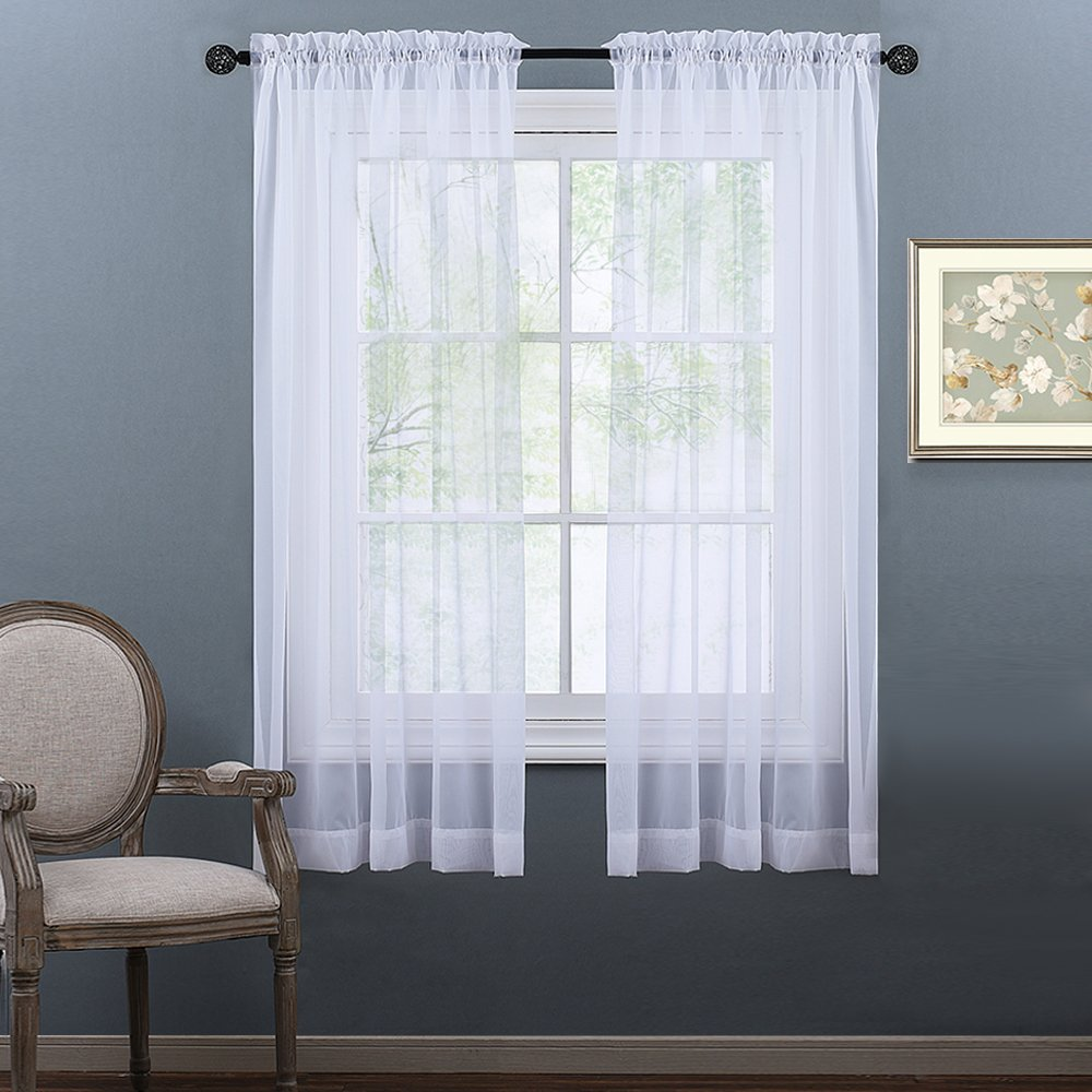 NICETOWN Sheer Window Panel Curtains - Rod Pocket Window Treatment Curtain Sheer Voile Panel White