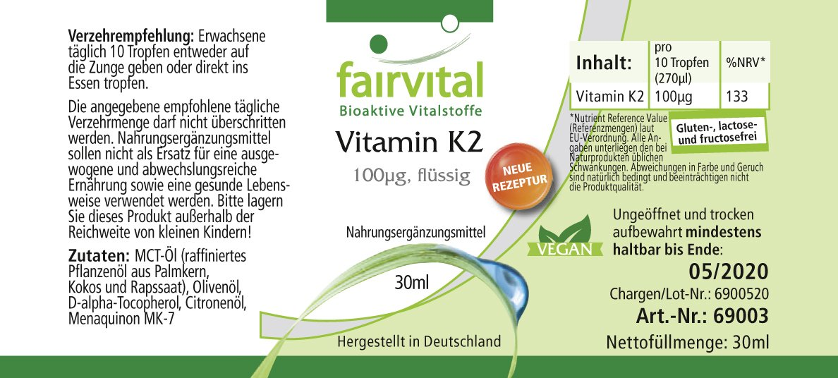 Vitamina K2 100 mcg líquido - Bote para 3 meses - VEGANO - 30 ml - menaquinona de natto - todo-trans MK-7: Amazon.es: Salud y cuidado personal