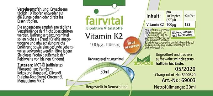 Vitamina K2 100mcg líquida - VEGANO - 30 ml - menaquinona de natto - todo-trans MK-7 - ¡Calidad Alemana garantizada!: Amazon.es: Salud y cuidado personal