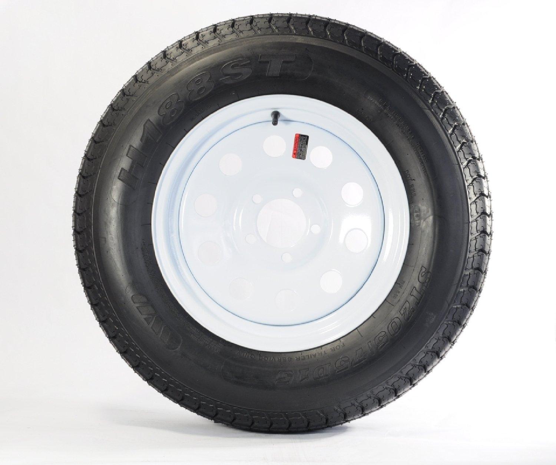 Eco-trail ST205/75D15 LRC 6 PR Bias Trailer Tire on 15' 5 Lug White Mod Trailer Wheel