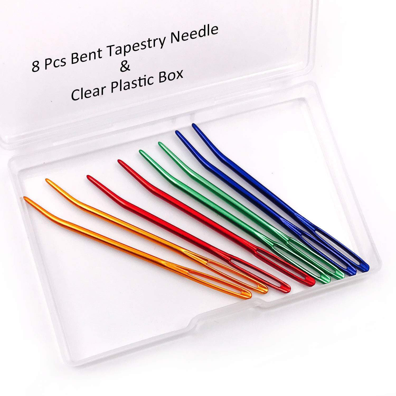 Aozer 8 Pcs Bent Tapestry Needle Yarn Needle Knitting Needles Sewing Needles Weaving Needle Darning Needles Bent with Clear Plastic Box