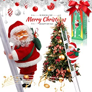 Eutreec Electric Santa Climbing Ladder Santa Claus Christmas Figurine Hanging Ornament Decoration Plush Doll Toy for Xmas Party Home Door Wall Creative Decoration (25.6inch)
