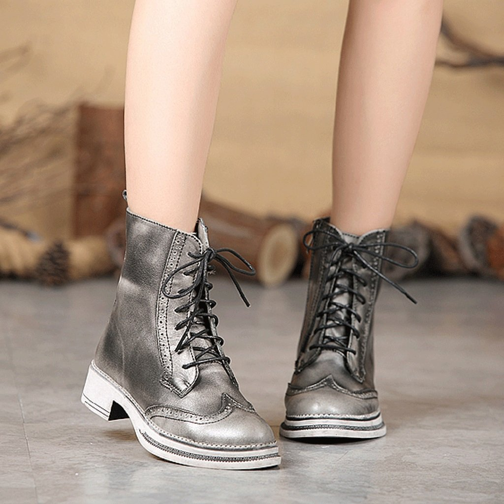 Women 's Martin boots autumn and winter retro genuine leather knights boots personality handmade shoes ( Color : Gray , Size : US:5UK:4EUR:35 ) by LI SHI XIANG SHOP (Image #6)