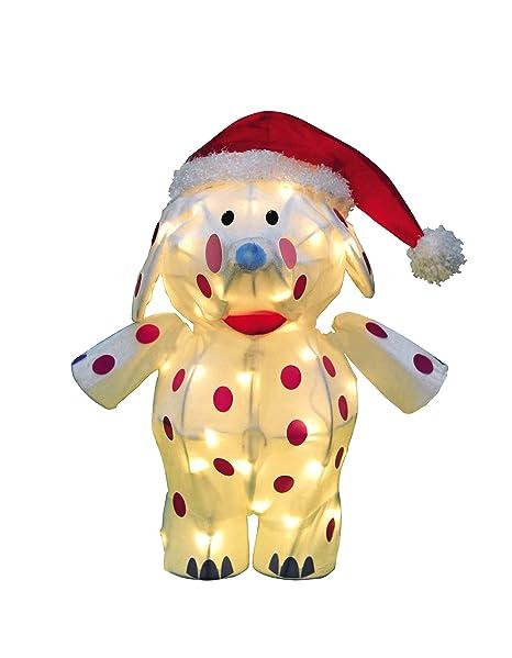 productworks 18 inch pre lit 3d misfit elephant santa hat christmas yard decoration
