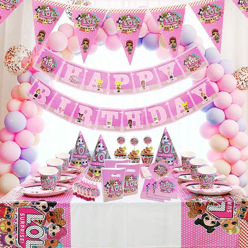 155pcs Surprise Birthday Decoration Surprise Party Banners Supplies,Girl Birthday Tablecloth Decor Surprise Carnival Family Party Supplies Decoration