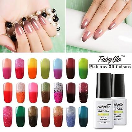 Fairy Glo Juego de esmaltes de uñas, de gel térmico, cambian de color con. Pasa ...