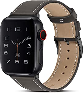 Marge Plus Compatible with Apple Watch Band 42mm 44mm, Genuine Leather Replacement Band Compatible with Apple Watch Series 5 4 (44mm) Series 3 2 1 (42mm), Ebony Band + Black Adapter