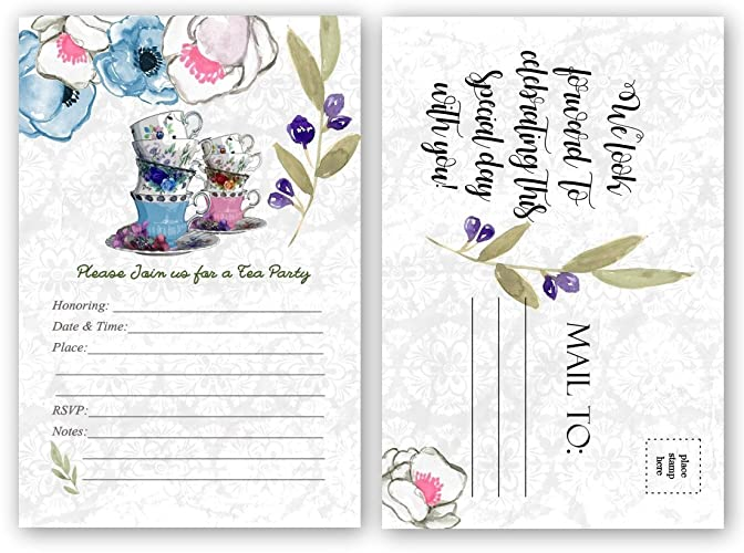 Baby Shower Tea Party Invitations Bridal Luncheon Invitation Birthday