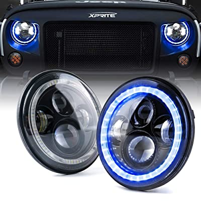 """Xprite 7"""" 90W CREE LED Headlights with Blue Halo Ring Angel Eyes for 1997-2020 Jeep Wrangler JK TJ LJ(DOT Approved, 9600 Lumens Hi/Lo Beam Head lamp: Automotive"""