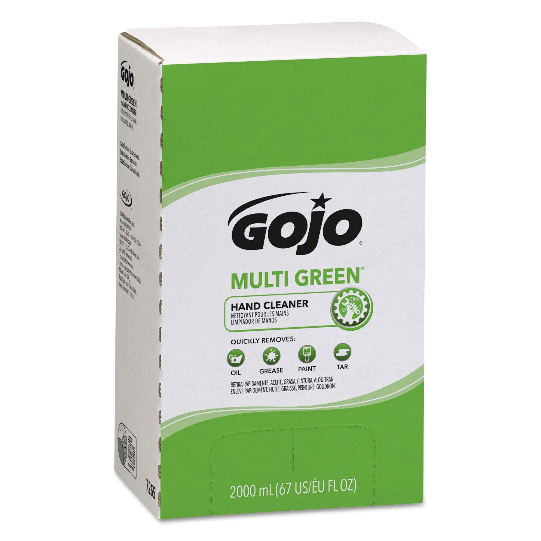 GOJO 7265 MULTI GREEN Hand Cleaner Refill, 2000mL, Citrus Scent, Green (Case of 4)