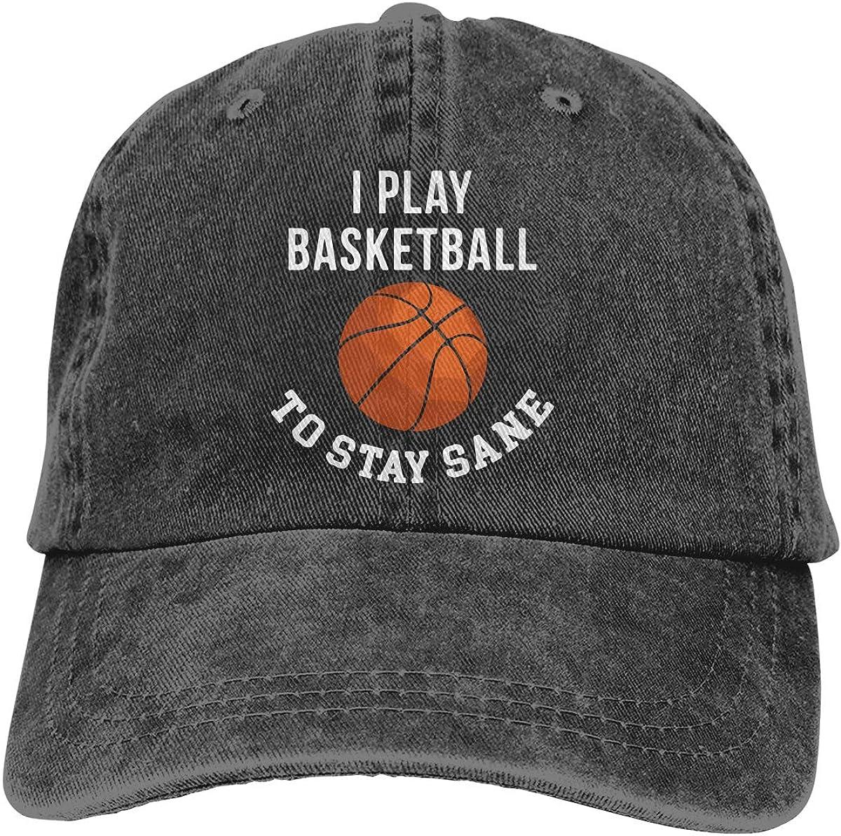 I Play Basketball to Stay Sane Adult Trendy Cowboy Sun Hat Adjustable Baseball Cap