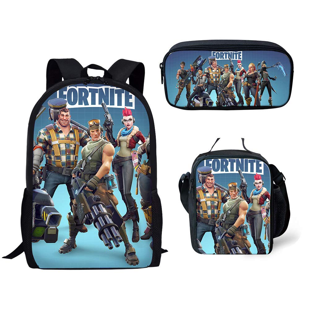 MOREFUN Fortnite Game School Backpack for Boys Girls School Book Bag Set Insulated Lunch Bag Pencil Case Travel Daypack (F0016)