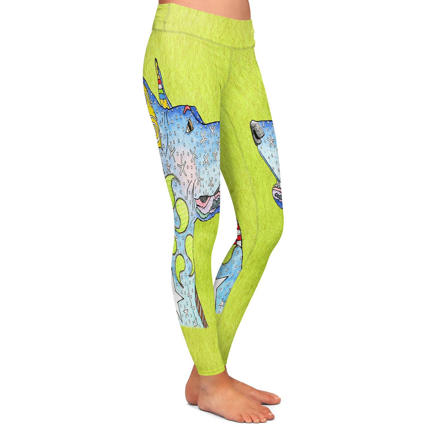 Athletic Yoga Leggings from DiaNoche Designs by Artist Marley Ungaro Great Dane Lime