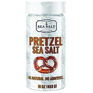 Pretzel Sea Salt - Premium All Natural Coarse Food Grade Topping for Pretzels, Bagels & Breads - No Additives by Sea Salt Superstore
