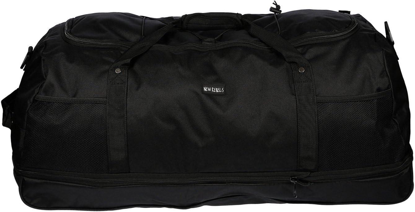 3 Ruedas - Bolsa de viaje - Bolsa de deporte - Bolsa de ocio - solo 1,4 kg - Plisados - 80cm - Volumen hasta 140 Litro 4 Colores - Negro