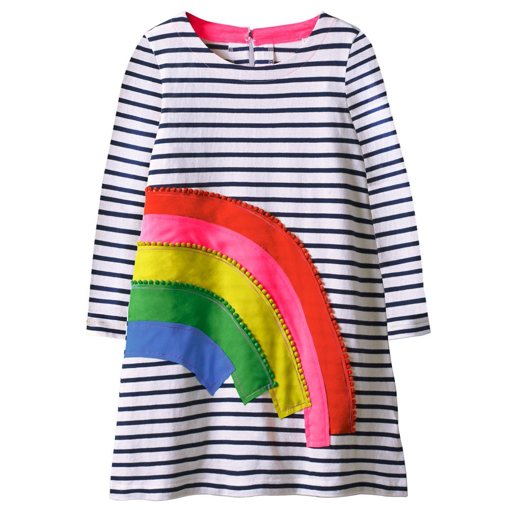 VIKITA Toddler Girl Rainbow Loose Cotton Long Sleeve Dress Baby Girls Winter Casual Dresses 1-8 Years (6T, JM7685)