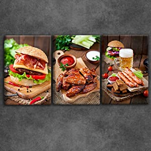 Artsbay 3 Piece Food Pictures Wall Art Canvas Delicious Hamburger Sausage Poster Artwork Painting Print on Canvas for Kitchen Dinning Room Restaurant Mordern Home Decor Stretched and Framed