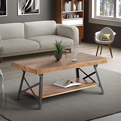 Amazon Com Coffee Table With Storage Shelf For Living Room Solid Wood Tabletop Metal Legs Cocktail Table Kitchen Dining