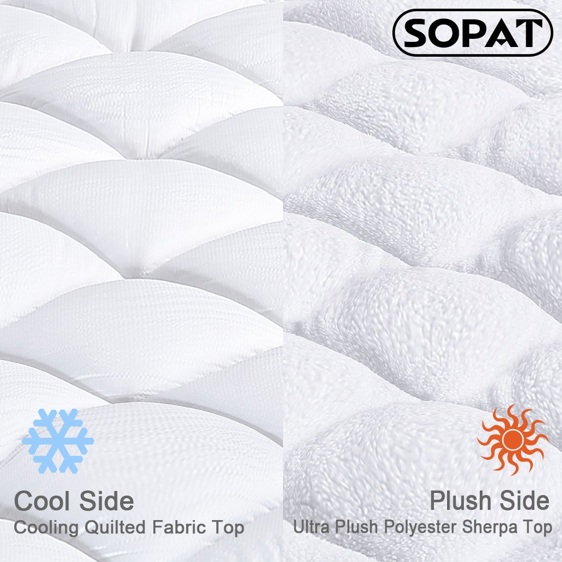 """Reversible Mattress Pad Cover Queen Summer Cooling Mattress topper All-Season Sherpa Quilted Fitted Pillowtop with 8-21""""Deep Pocket by SOPAT (Image #3)"""