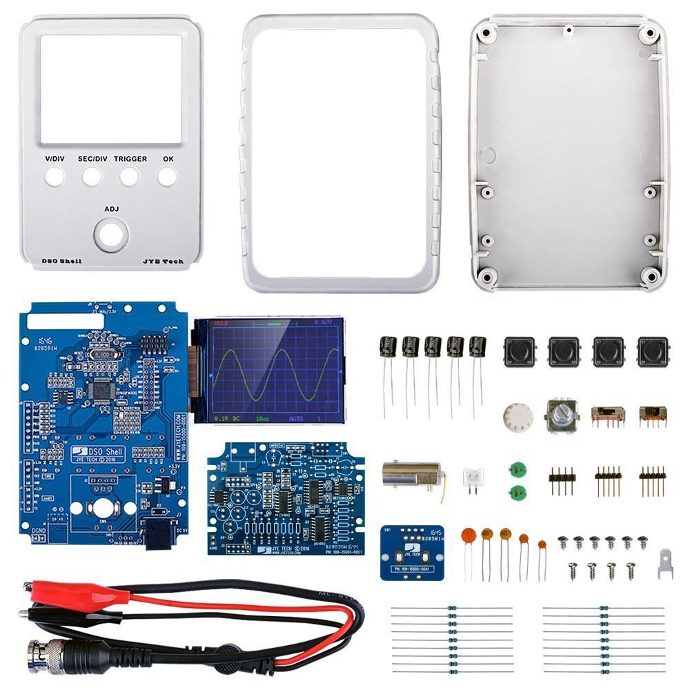 Jyetech Dso Shell Oscilloscope Diy Kit W Enclosure 1hz Clock Generator With Chip On Board Cob 100mhz Probe Clip Esd Safe Silicone Mat Computers Accessories