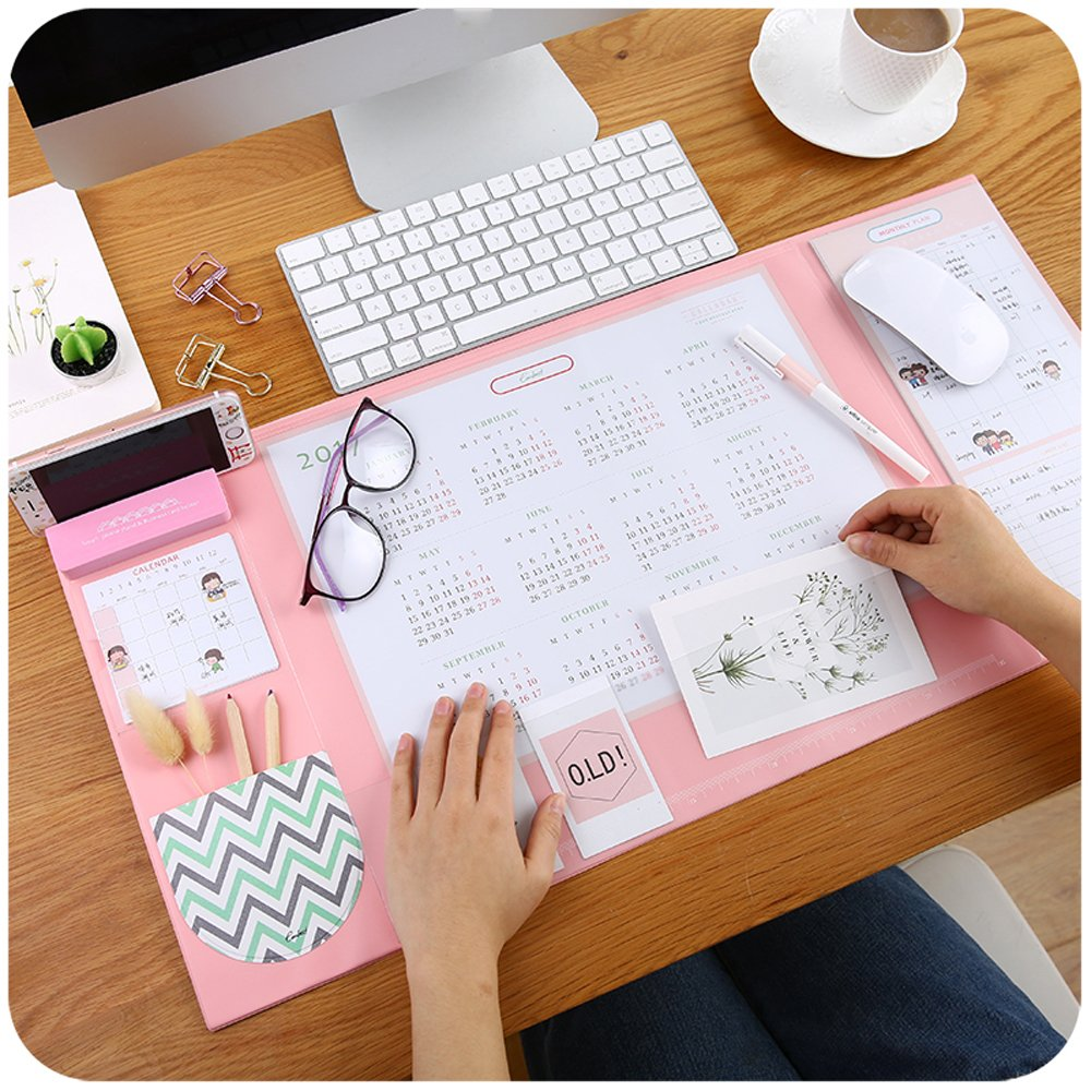 Large Size Mouse pad Anti-slip Desk Mouse Mat Waterproof Desk Protector Mat with Smartphone Stand, Pockets, Dividing Rule, Calendar and Pen Groove( Various Colors) (Pink)