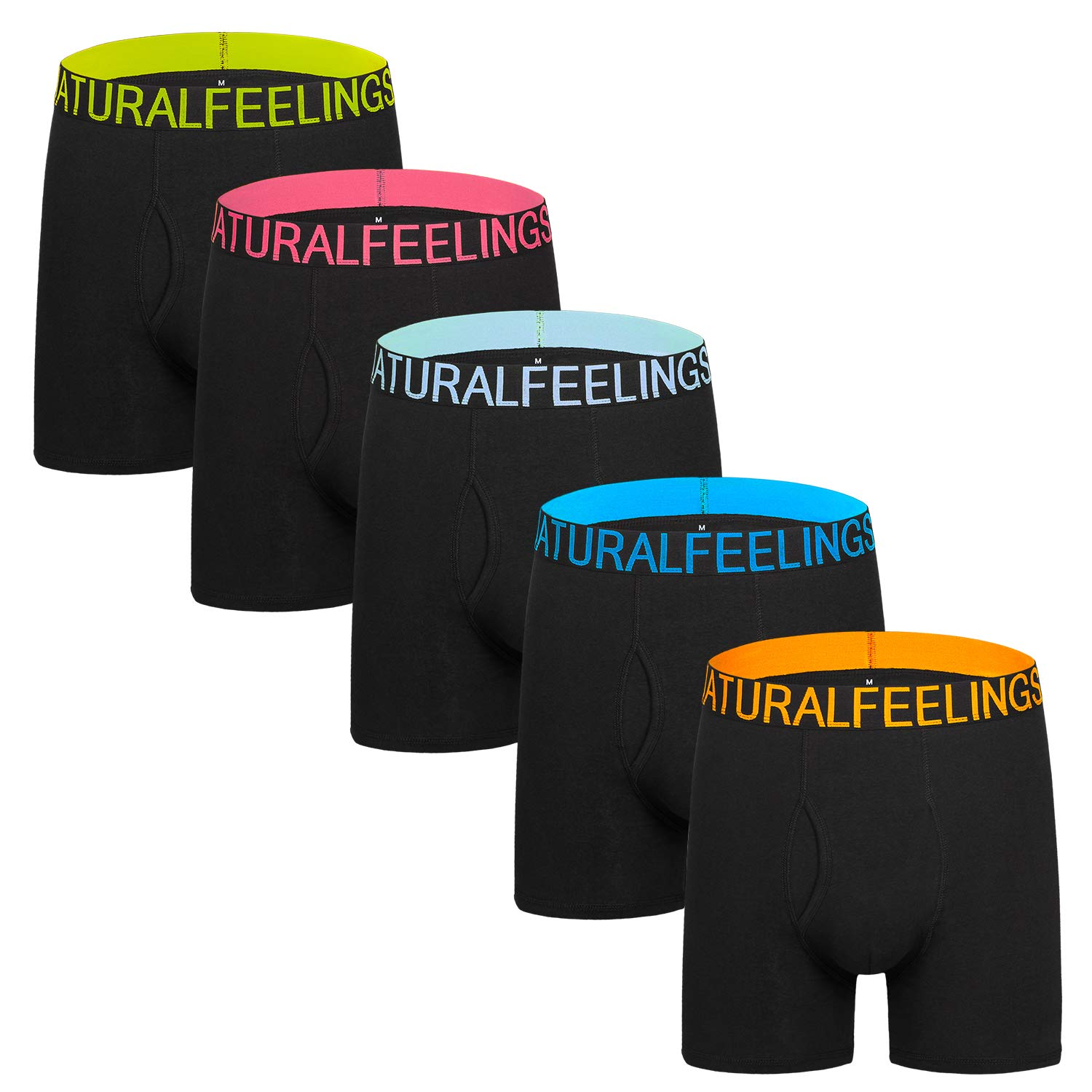 Natural Feelings Featuring Colorful Waistband Cotton Mens Underwear Boxer Briefs