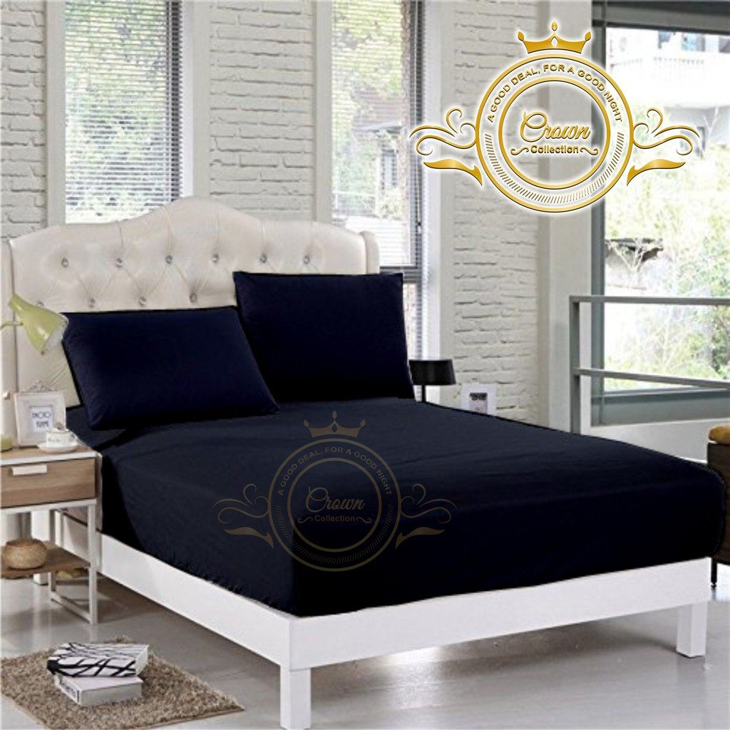 Crown Collection Hotel Beddings 600-Thread-Count 100% Egyptian Cotton 1 Piece Fitted Sheet With 13'' Deep Pocket Queen Size Damask Solid, Navy Blue
