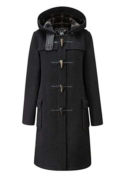 Amazon.com: Ladies Classic Long Duffle Coat Charcoal: Clothing