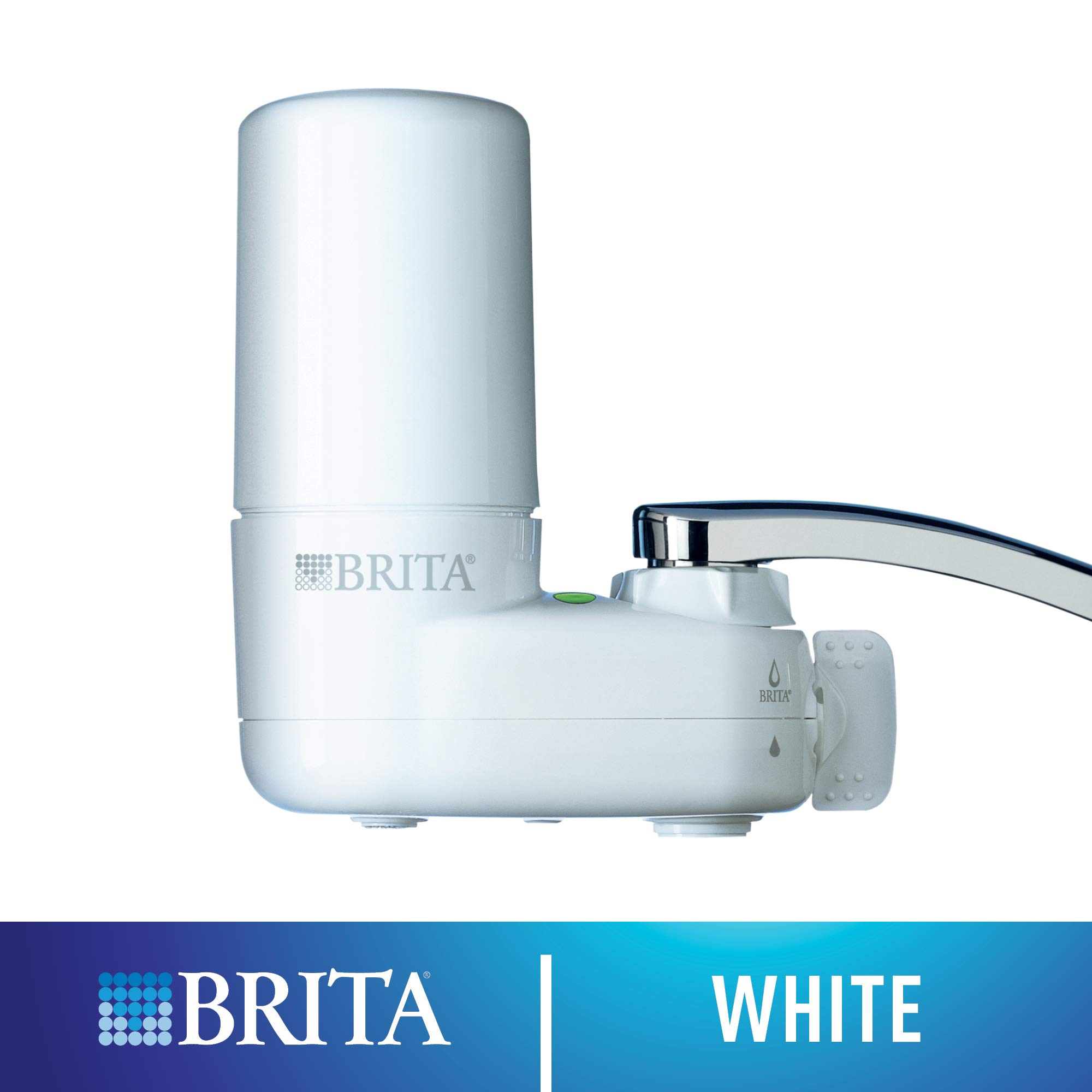 Brita Tap Water Filter System, Water Faucet Filtration System with Filter Change Reminder, Reduces Lead, BPA Free, Fits Standard Faucets Only - Basic, White by Brita