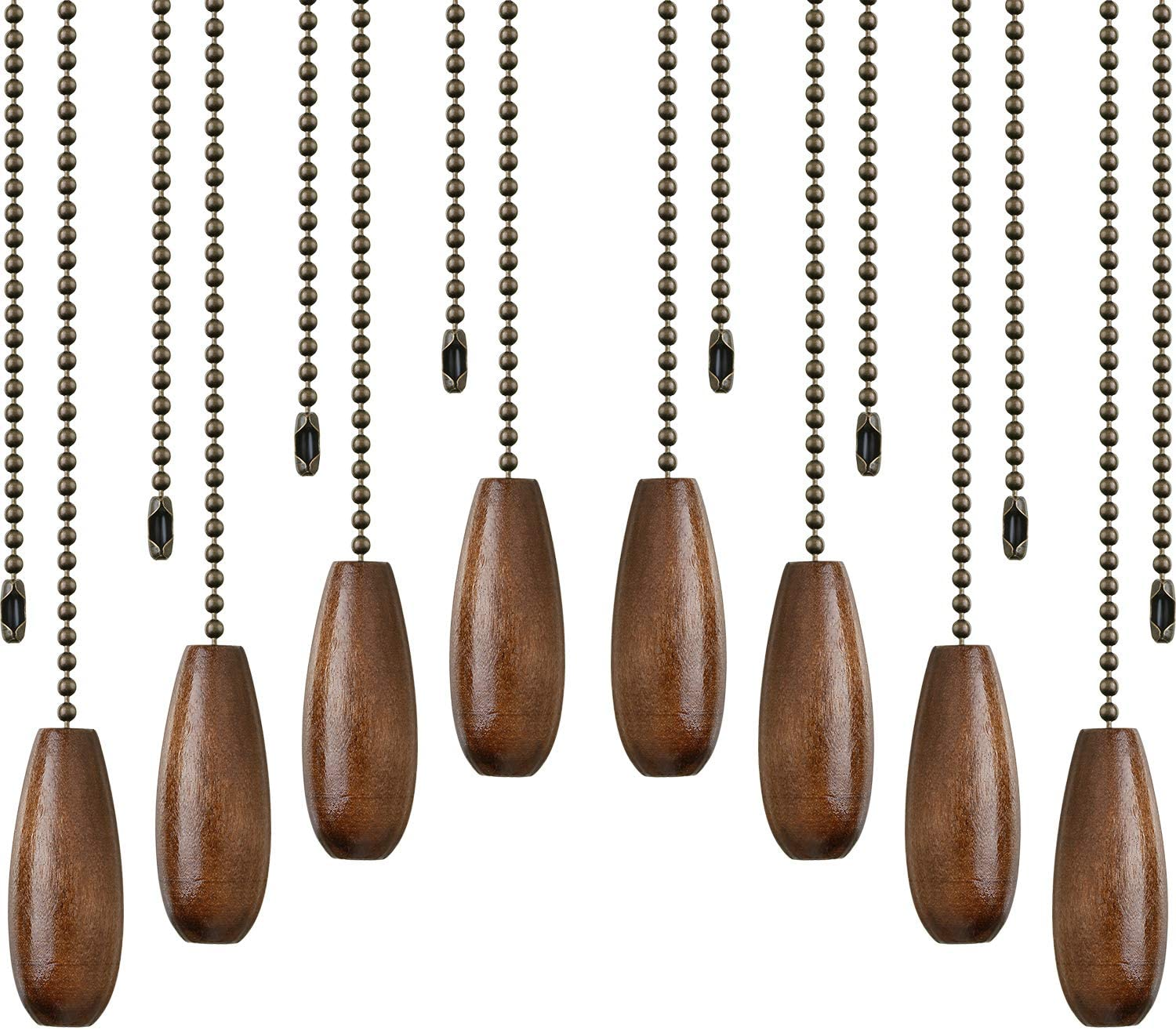 8 Pieces Ceiling Fan Pull Chains Wooden Pendant Pull Chain Extension for Ceiling Light Lamp Fan Chain (Walnut Color) - -