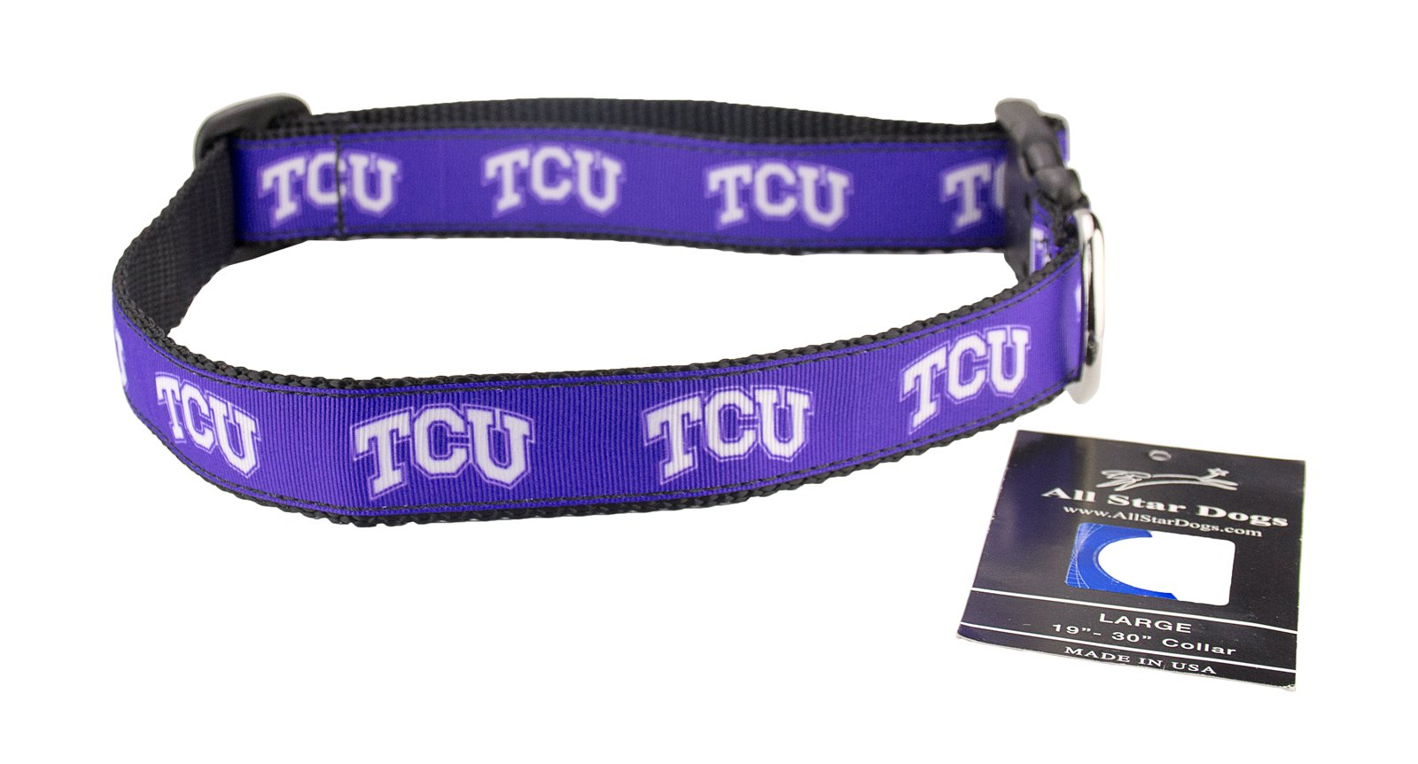 All Star Dogs TCU Horned Frogs Ribbon Dog Collar - Extra Small
