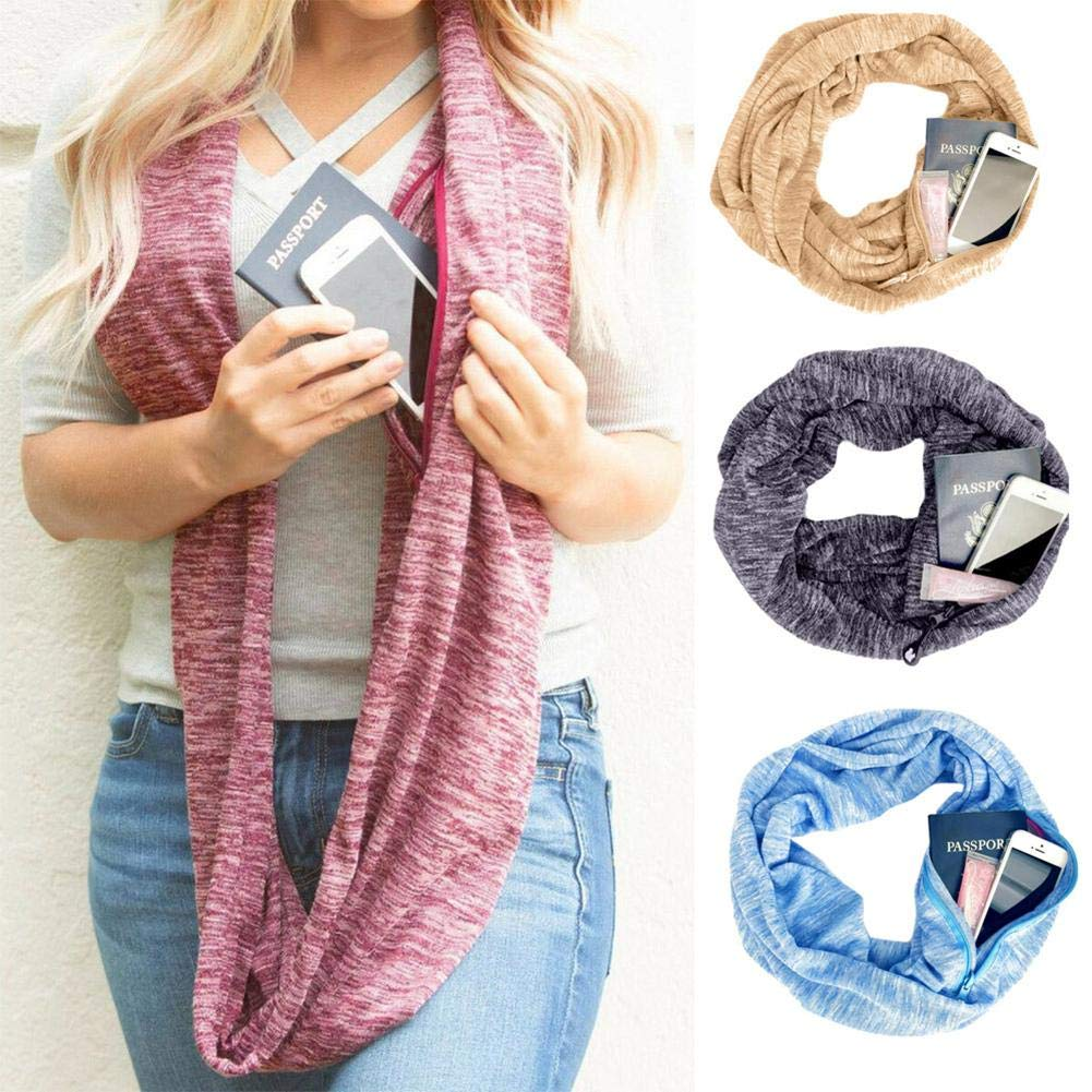 Winter Scarf Classic Ladies Soft Stretch Scarf Infinity Scarf With Invisible Zip Pocket