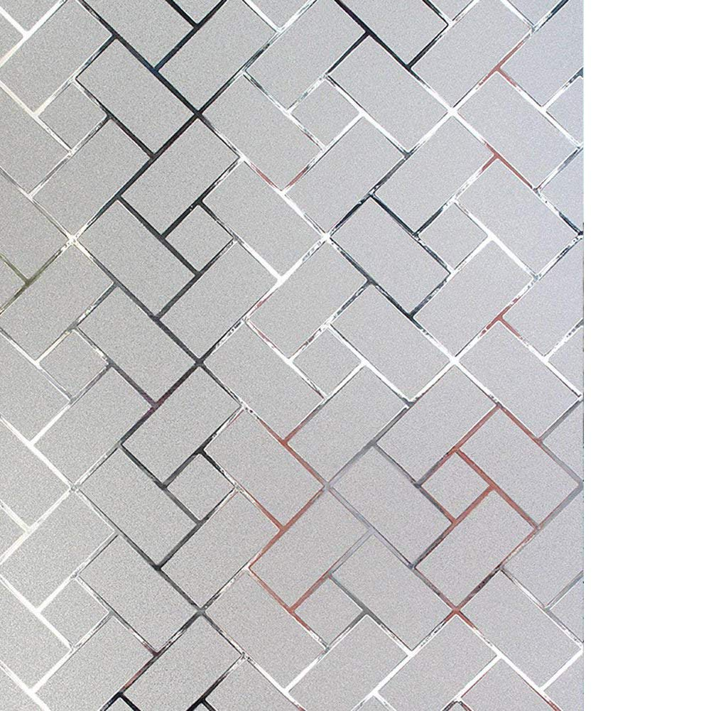 LYCSIX66 No Glue Static Cling Decorative Privacy Window Film 17.7'' x 78.7''/ 45cm x 200cm (Frosted-Grid)