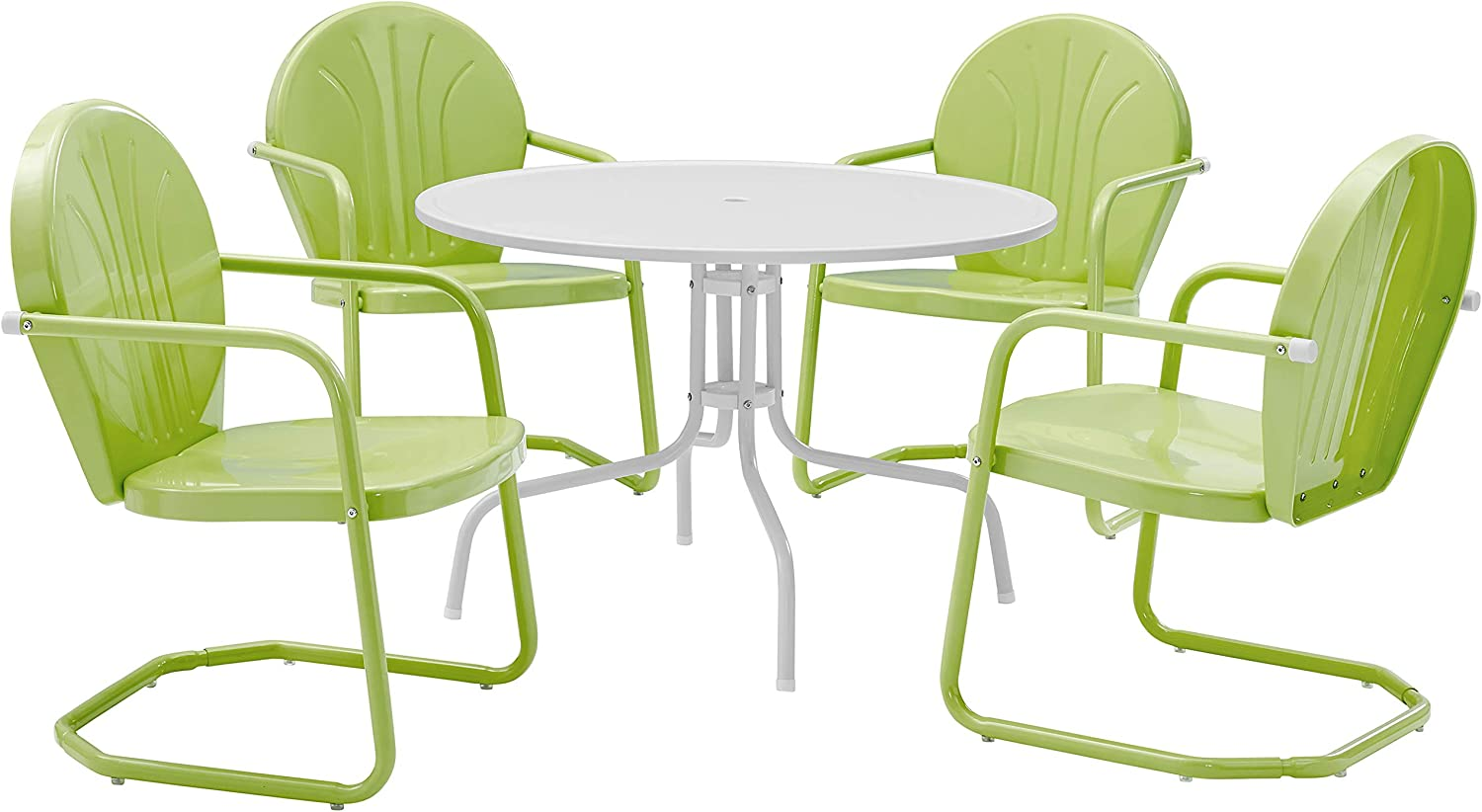 "Crosley Furniture Griffith Retro Metal Outdoor 5-Piece Dining Set with 39"" Table and 4 Chairs, Key Lime"