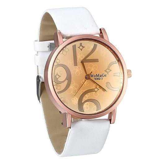 147d968cbe06 JewelryWe Reloj de Mujer Blanco Correa de Cuero