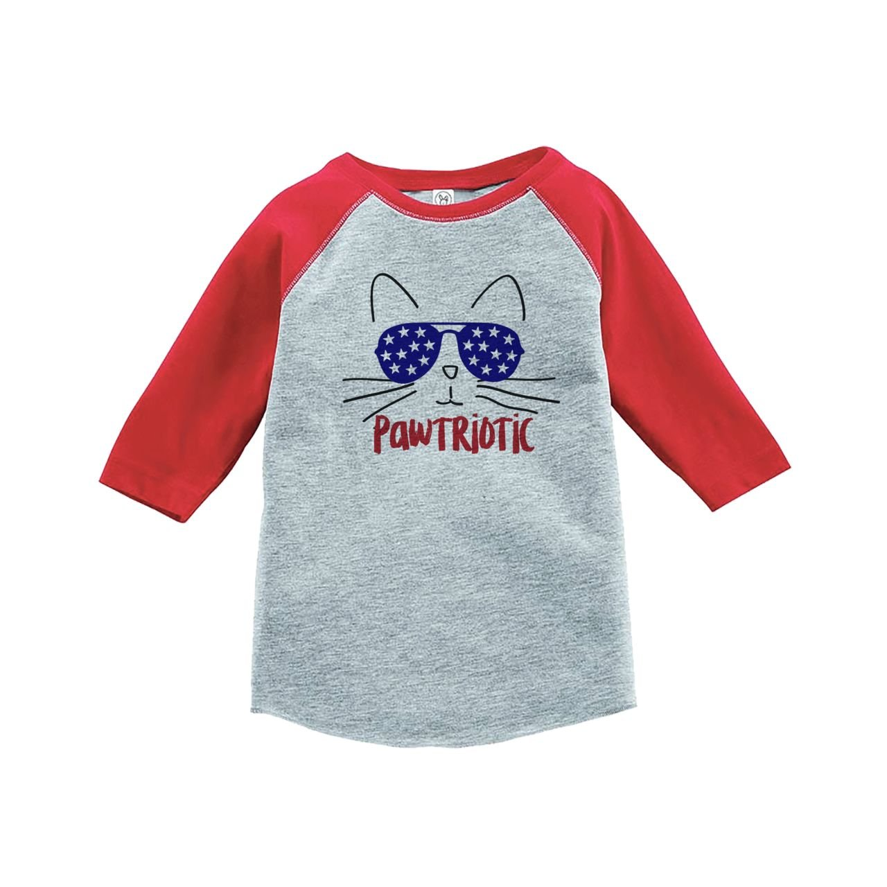 Custom Party Shop Kids Pawtriotic Cat 4th of July Red Baseball Tee