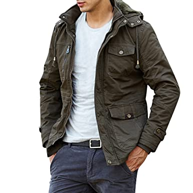 orangetime men multi pocket outdoor hooded cargo jacket at amazon
