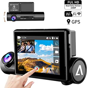 "Dash Cam with Sony Super Night Vision Sensor Inside, 170° Wide Angle, 3.0"" OLED Dual 1080P FHD Touch Screen, Front & Interior Dash Camera for Car, WiFi GPS Car Driving Recorder WDR G-Sensor Anoopsyche"